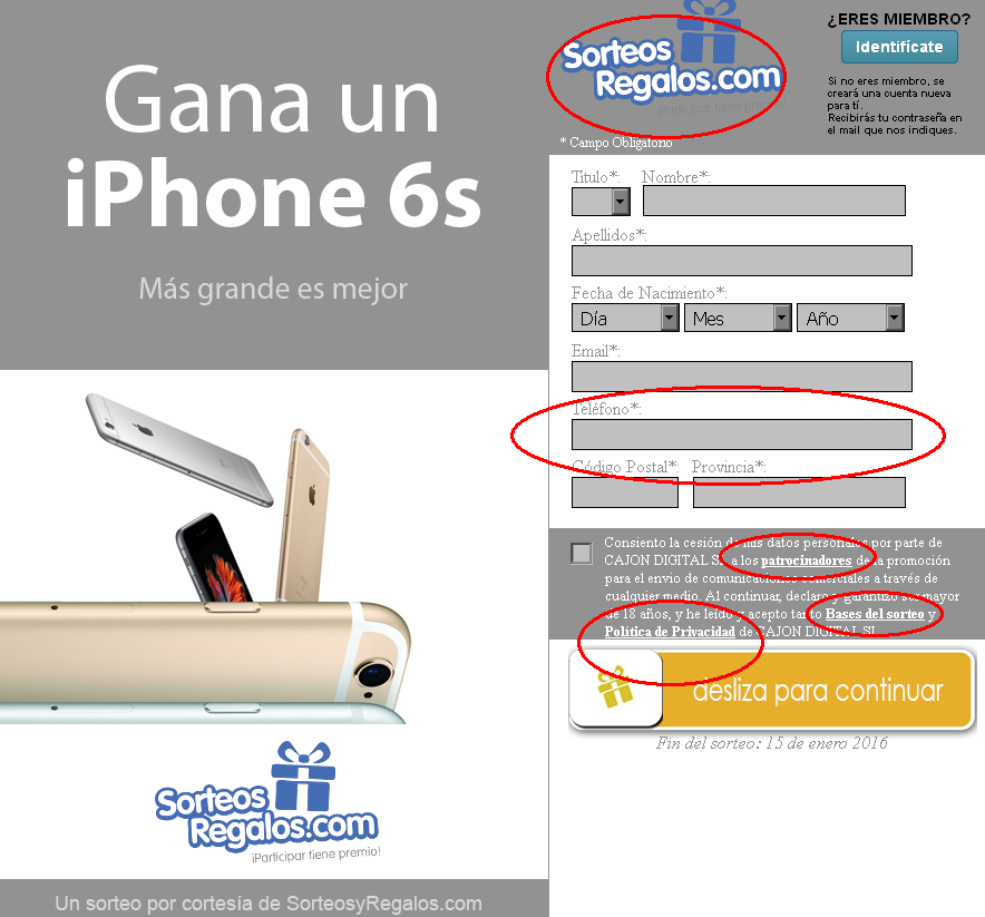 Estafa del sorteo del iphone 6 por Apple Internacional
