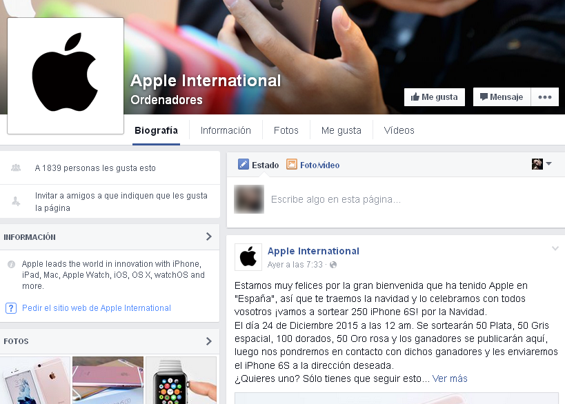 Página de facebook falsa de apple