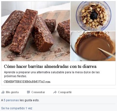 Fake Facebook link, diarrea, barritas de diarrea, cómo hacer barritas almendradas con tu diarrea