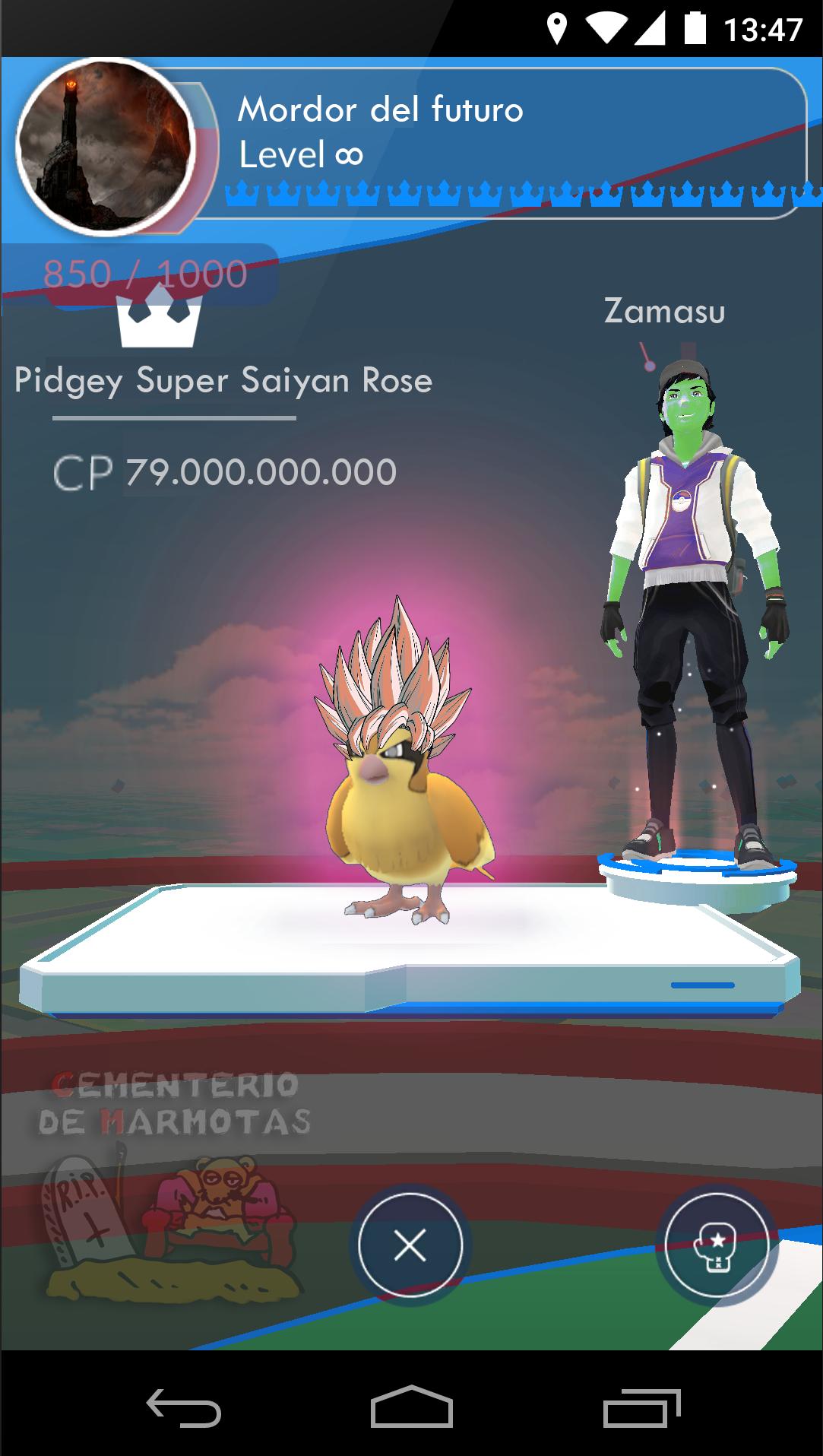 El gimnasio de Pokemon Go Imposible de derrotar, pidgey super saiyan rose