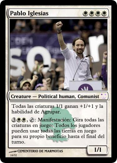 cartas magic inventadas, pablo iglesias, cartas magic, magic the gathering