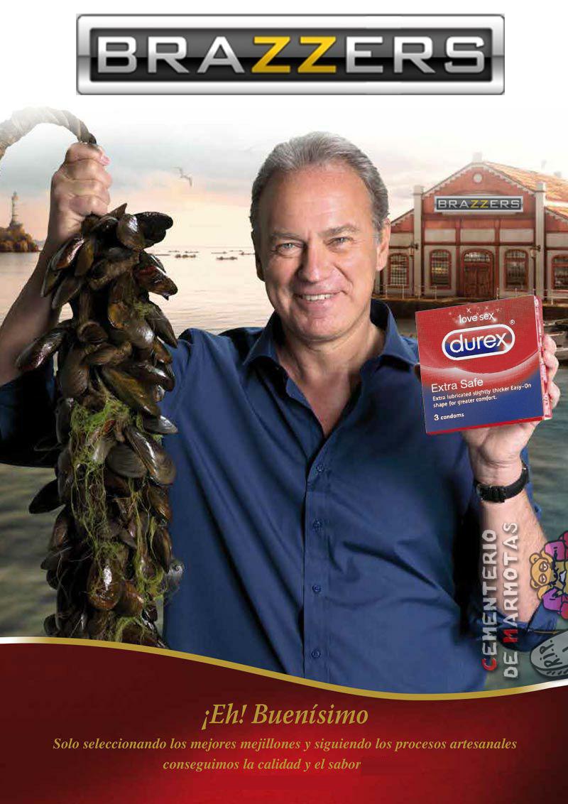 El aberrante anuncio de Bertín Osborne y los mejillones, me refiero a ese donde sale con un manojo de mejillones en la mano diciendo que son de una marca de calidad.