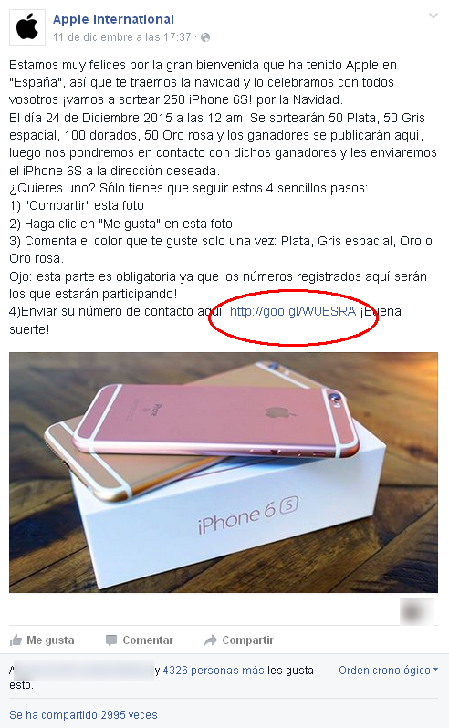 Estafa del sorteo del iphone 6 por Apple Internacional