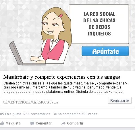 anuncios de facebook, red social solo chicas, masturbación femenina