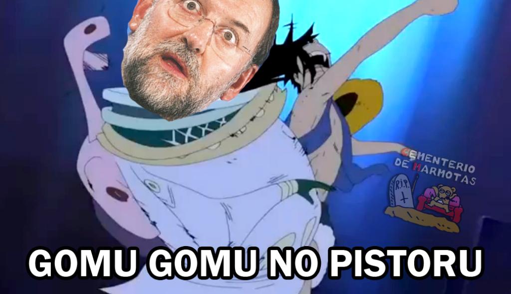 parodia puñetazo rajoy, meme puñetazo rajoy, memes, dragon ball z, one piece