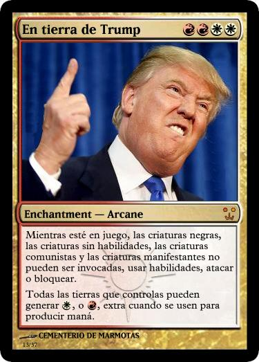 las cartas de trump, magic the gathering, cartas magic inventadas, trump, memes
