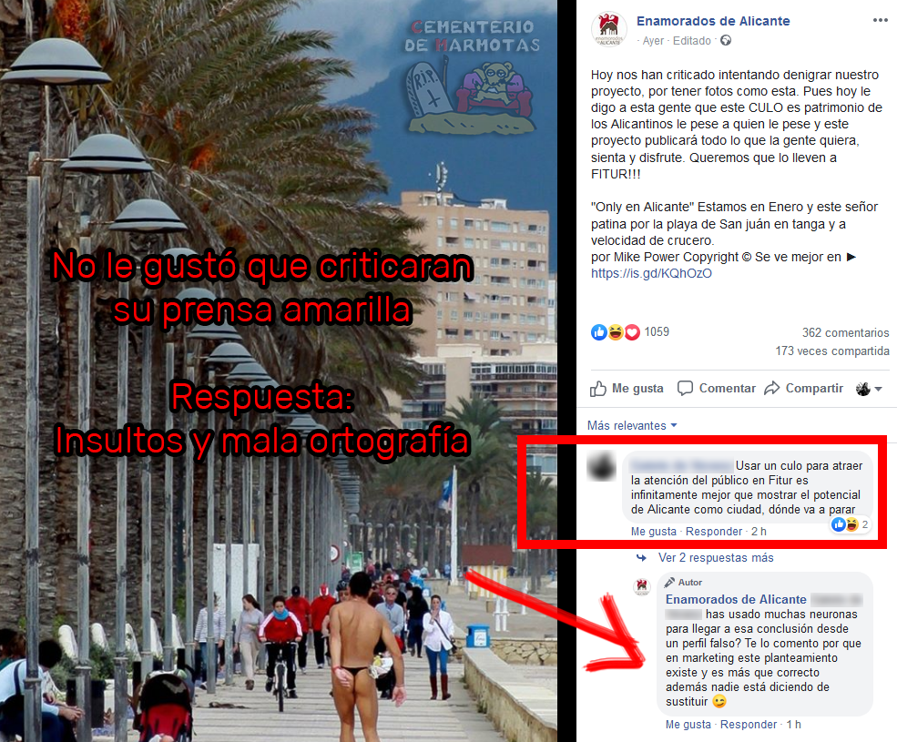 La reputación de Alicante en Fitur dañada por enamoradosdealicante.com